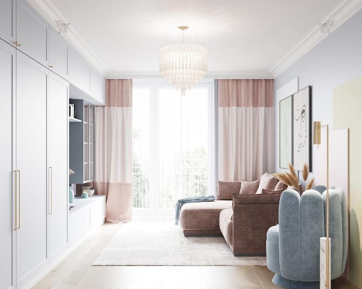 88平2居室现代简约风,充满甜美的乐趣